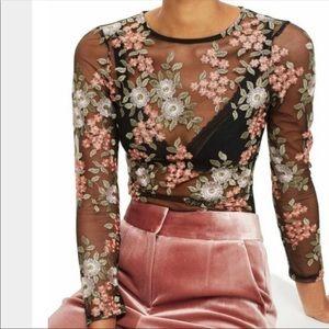 Topshop Black Sheer Floral Illusion Bodysuit